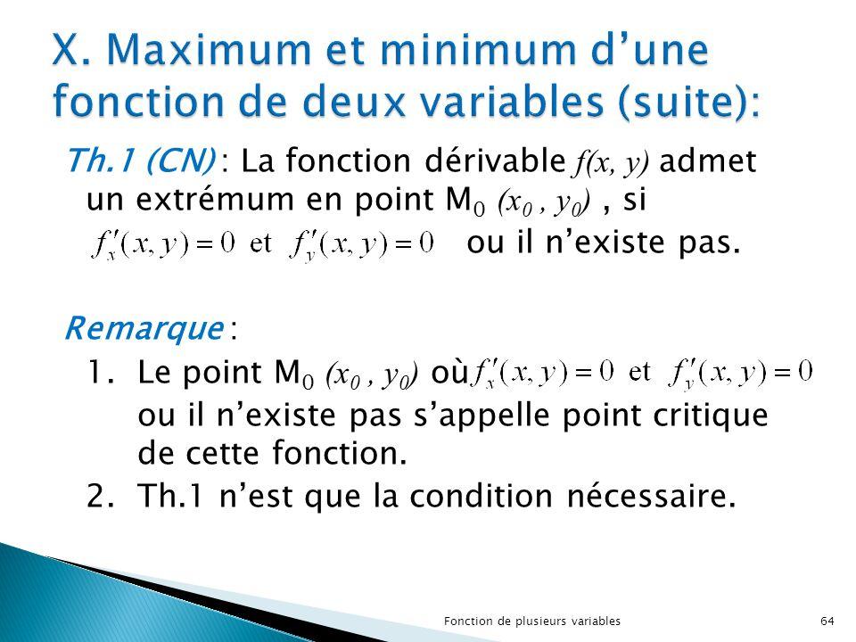 Th.1 (CN) : La fonction dérivable f(x, y) admet un extrémum en point M 0 (x 0, y 0 ), si ou il n'existe pas. Remarque : 1.Le point M 0 (x 0, y 0 ) où