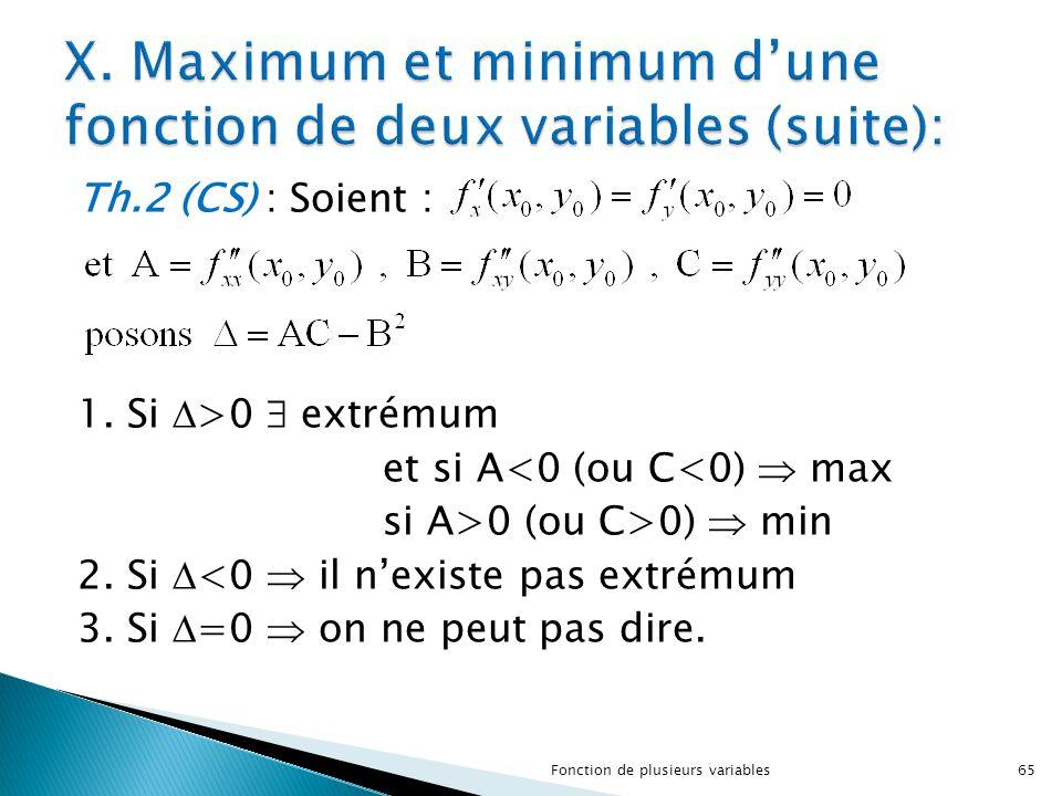 Th.2 (CS) : Soient : 1. Si  >0  extrémum et si A<0 (ou C<0)  max si A>0 (ou C>0)  min 2. Si  <0  il n'existe pas extrémum 3. Si  =0  on ne peu