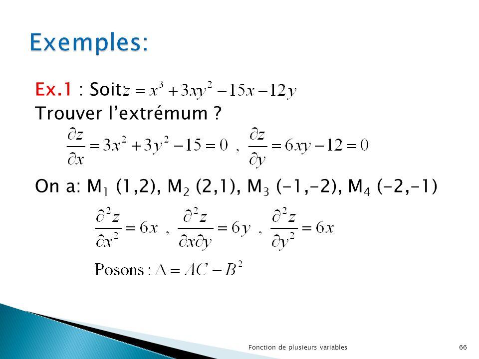 Ex.1 : Soit: Trouver l'extrémum ? On a: M 1 (1,2), M 2 (2,1), M 3 (-1,-2), M 4 (-2,-1) 66Fonction de plusieurs variables
