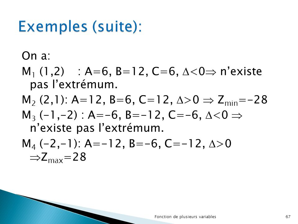 On a: M 1 (1,2): A=6, B=12, C=6,  <0  n'existe pas l'extrémum. M 2 (2,1): A=12, B=6, C=12,  >0  Z min =-28 M 3 (-1,-2) : A=-6, B=-12, C=-6,  <0 