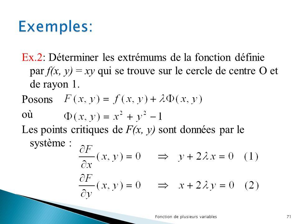 Ex.2: Déterminer les extrémums de la fonction définie par f(x, y) = xy qui se trouve sur le cercle de centre O et de rayon 1. Posons où Les points cri