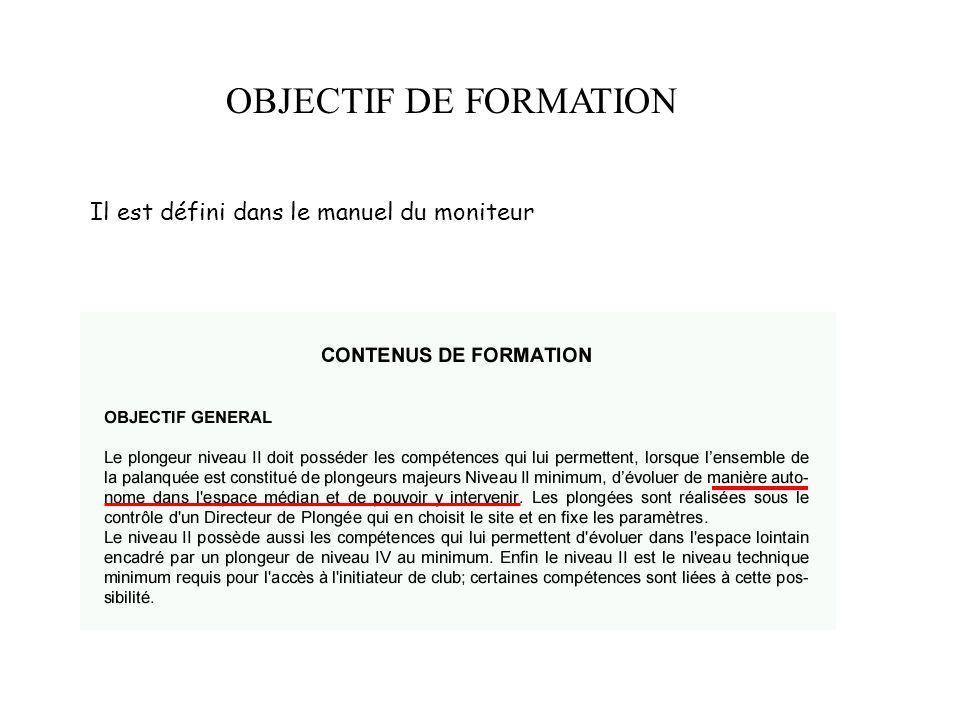 OBJECTIF DE FORMATION Il est défini dans le manuel du moniteur