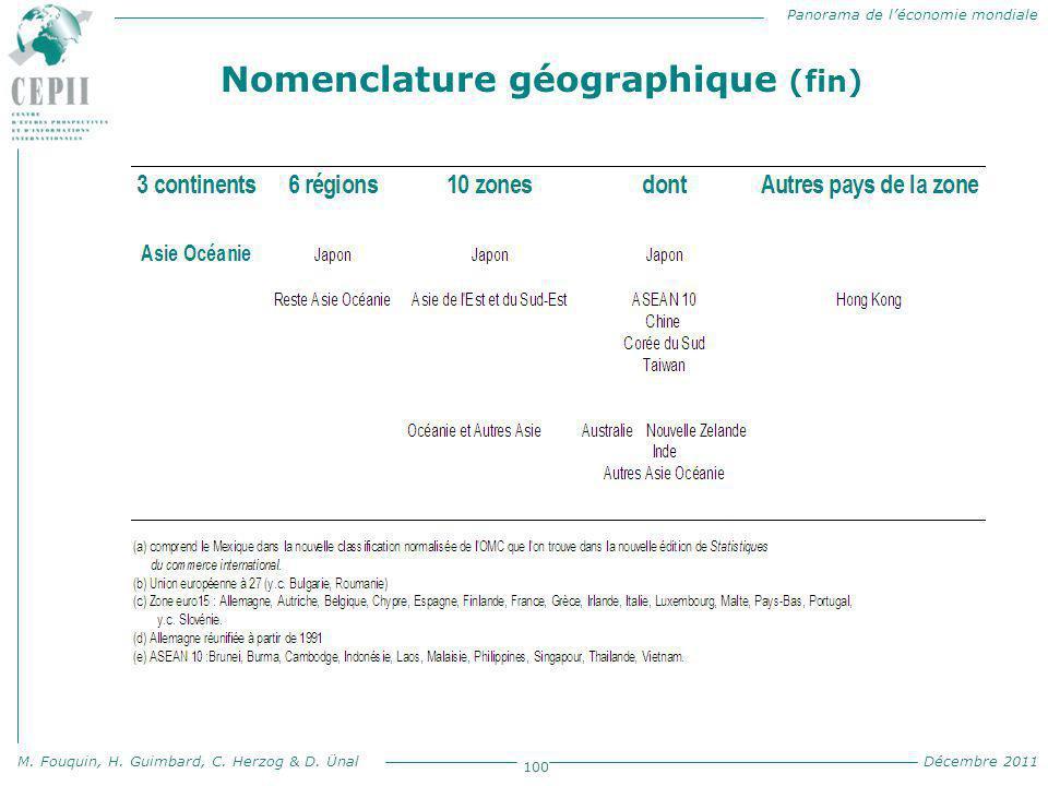 Panorama de l'économie mondiale M. Fouquin, H. Guimbard, C. Herzog & D. Ünal Décembre 2011 100 Nomenclature géographique (fin)