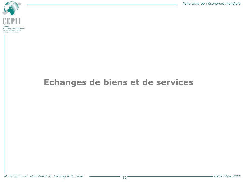 Panorama de l'économie mondiale M. Fouquin, H. Guimbard, C. Herzog & D. Ünal Décembre 2011 16 Echanges de biens et de services