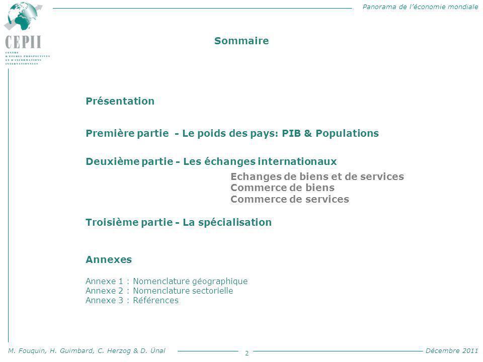 Panorama de l'économie mondiale M. Fouquin, H. Guimbard, C. Herzog & D. Ünal Décembre 2011 2 Sommaire P Présentation Première partie - Le poids des pa
