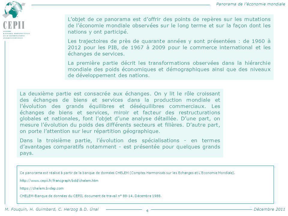 Panorama de l'économie mondiale M. Fouquin, H. Guimbard, C. Herzog & D. Ünal Décembre 2011 4 L'objet de ce panorama est d'offrir des points de repères