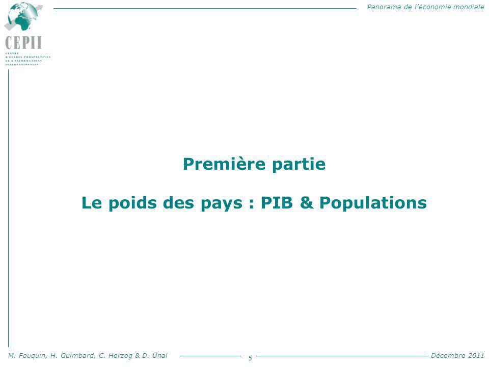 Panorama de l'économie mondiale M. Fouquin, H. Guimbard, C. Herzog & D. Ünal Décembre 2011 5 Première partie Le poids des pays : PIB & Populations