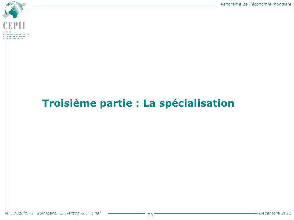 Panorama de l'économie mondiale M. Fouquin, H. Guimbard, C. Herzog & D. Ünal Décembre 2011 70 Troisième partie : La spécialisation