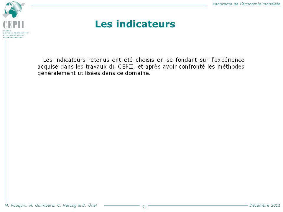 Panorama de l'économie mondiale M. Fouquin, H. Guimbard, C. Herzog & D. Ünal Décembre 2011 71 Les indicateurs