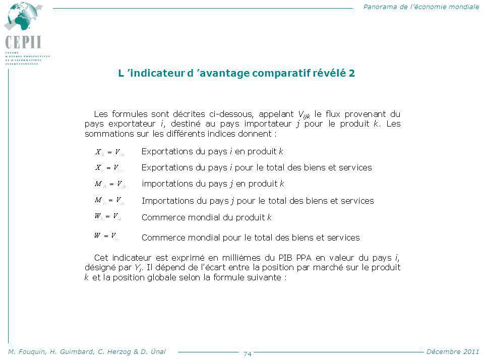 Panorama de l'économie mondiale M. Fouquin, H. Guimbard, C. Herzog & D. Ünal Décembre 2011 74 L 'indicateur d 'avantage comparatif révélé 2