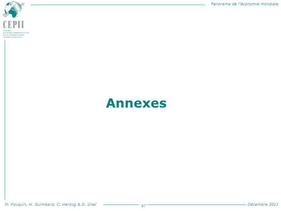 Panorama de l'économie mondiale M. Fouquin, H. Guimbard, C. Herzog & D. Ünal Décembre 2011 97 Annexes