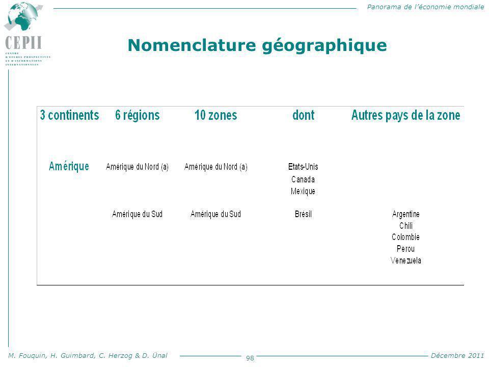 Panorama de l'économie mondiale M. Fouquin, H. Guimbard, C. Herzog & D. Ünal Décembre 2011 98 Nomenclature géographique