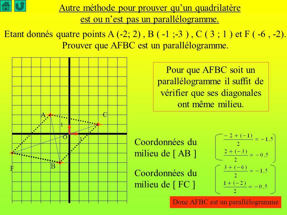 Application au milieu d 'un segment I est le milieu d 'un segment [AB] si et seulement si AI = IB En passant au coordonnées x I - x A = x B - x I y I - y A = y B - y I donc...