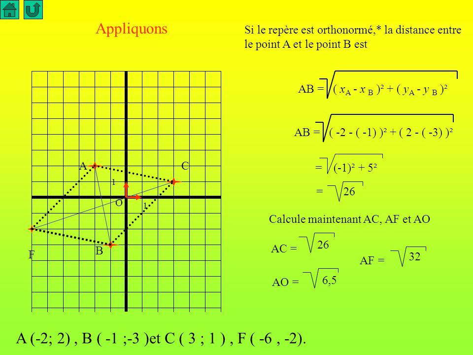 O 1 1 Pour calculer la distance AB on utilise la formule suivante : Expliquons cette formule dans le cas où les coordonnées de A et B sont des nombres positifs.