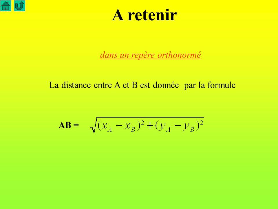 Si le repère est orthonormé,* la distance entre le point A et le point B est AB = ( x A - x B )² + ( y A - y B )² O 1 1 A F B C AB = ( -2 - ( -1) )² + ( 2 - ( -3) )² = (-1)² + 5² = 26 Appliquons Calcule maintenant AC, AF et AO AC = AO = 26 6,5 AF = 32 A (-2; 2), B ( -1 ;-3 )et C ( 3 ; 1 ), F ( -6, -2).