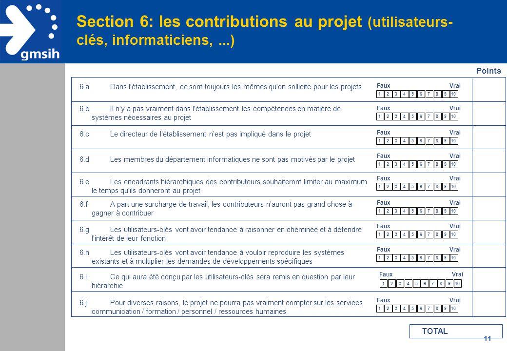 11 Section 6: les contributions au projet (utilisateurs- clés, informaticiens,...) Points 6.aDans l'établissement, ce sont toujours les mêmes qu'on so