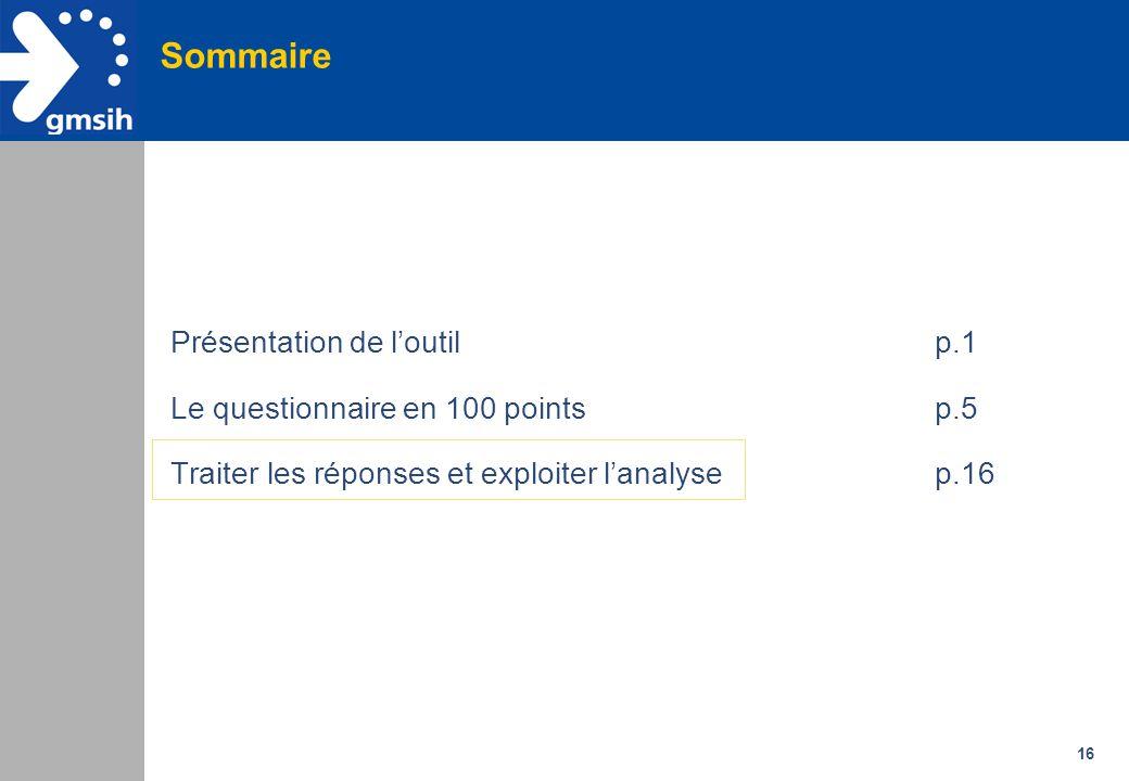 16 Sommaire Présentation de l'outil p.1 Le questionnaire en 100 points p.5 Traiter les réponses et exploiter l'analyse p.16