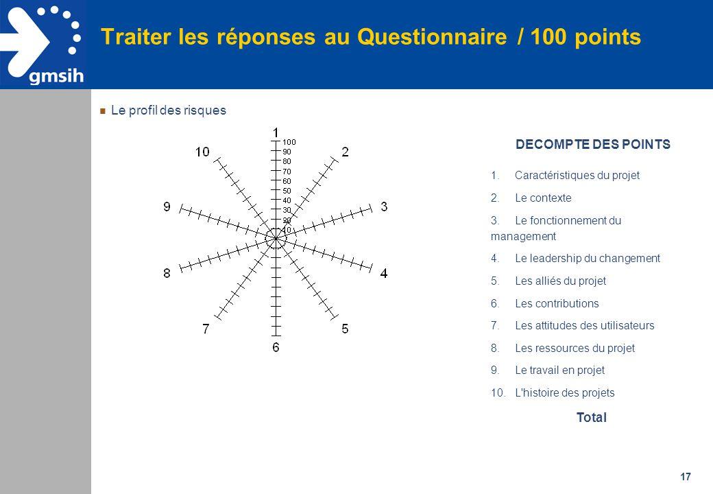 17 Traiter les réponses au Questionnaire / 100 points 1.Caractéristiques du projet 2.Le contexte 3.Le fonctionnement du management 4.Le leadership du