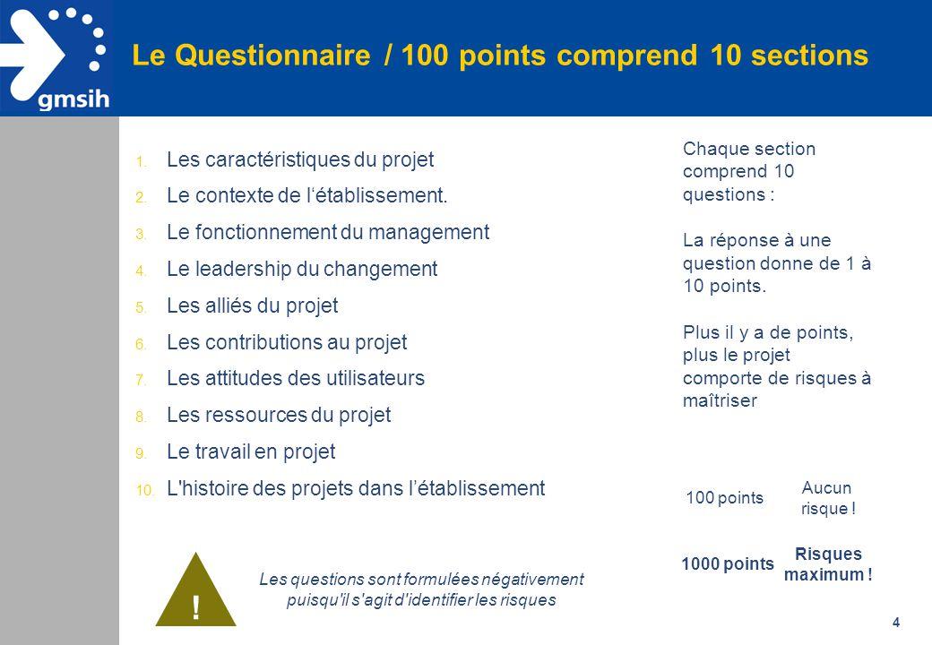 4 Le Questionnaire / 100 points comprend 10 sections 1. Les caractéristiques du projet 2. Le contexte de l'établissement. 3. Le fonctionnement du mana