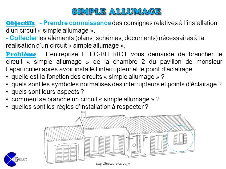 Objectifs : - Prendre connaissance des consignes relatives à l'installation d'un circuit « simple allumage ». - Collecter les éléments (plans, schémas