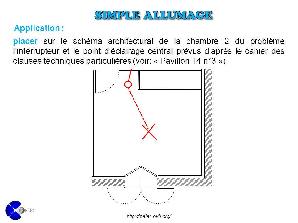 placer sur le schéma architectural de la chambre 2 du problème l'interrupteur et le point d'éclairage central prévus d'après le cahier des clauses tec