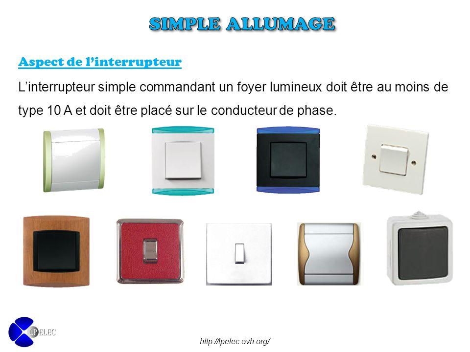 L'interrupteur simple commandant un foyer lumineux doit être au moins de type 10 A et doit être placé sur le conducteur de phase. Aspect de l'interrup