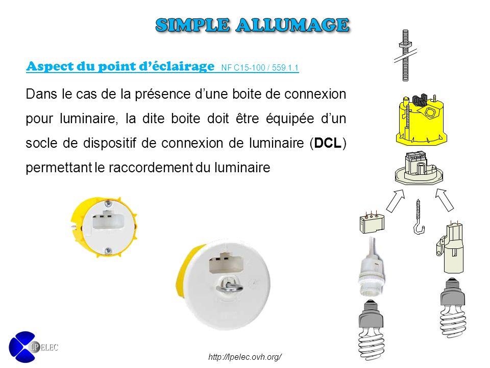 Dans le cas de la présence d'une boite de connexion pour luminaire, la dite boite doit être équipée d'un socle de dispositif de connexion de luminaire