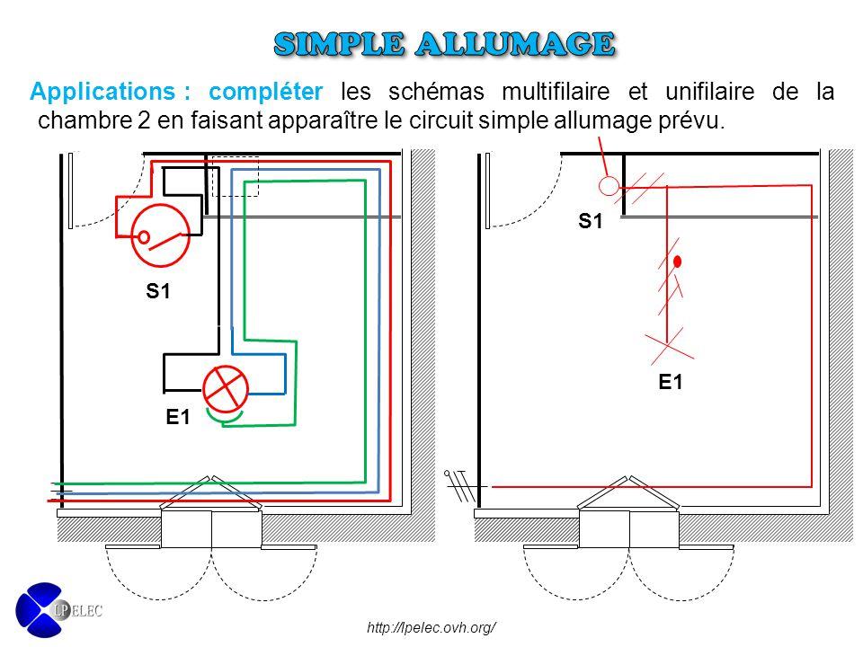 : compléter les schémas multifilaire et unifilaire de la chambre 2 en faisant apparaître le circuit simple allumage prévu. Applications http://lpelec.