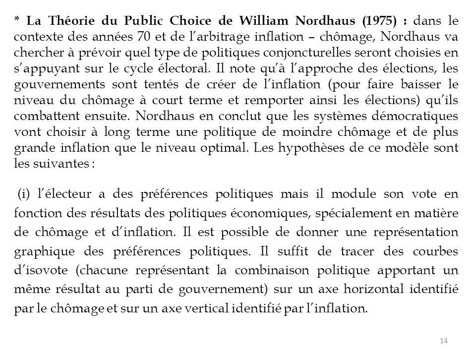 * La Théorie du Public Choice de William Nordhaus (1975) : dans le contexte des années 70 et de l'arbitrage inflation – chômage, Nordhaus va chercher