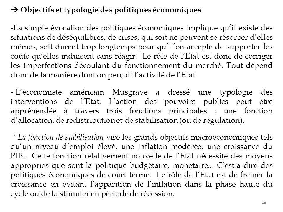  Objectifs et typologie des politiques économiques -La simple évocation des politiques économiques implique qu'il existe des situations de déséquilib