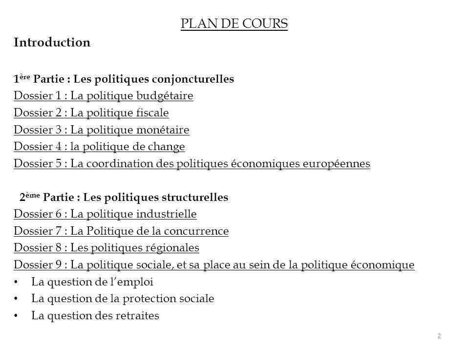 PLAN DE COURS Introduction 1 ère Partie : Les politiques conjoncturelles Dossier 1 : La politique budgétaire Dossier 2 : La politique fiscale Dossier