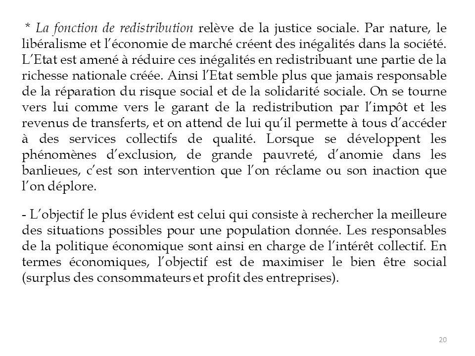 * La fonction de redistribution relève de la justice sociale. Par nature, le libéralisme et l'économie de marché créent des inégalités dans la société