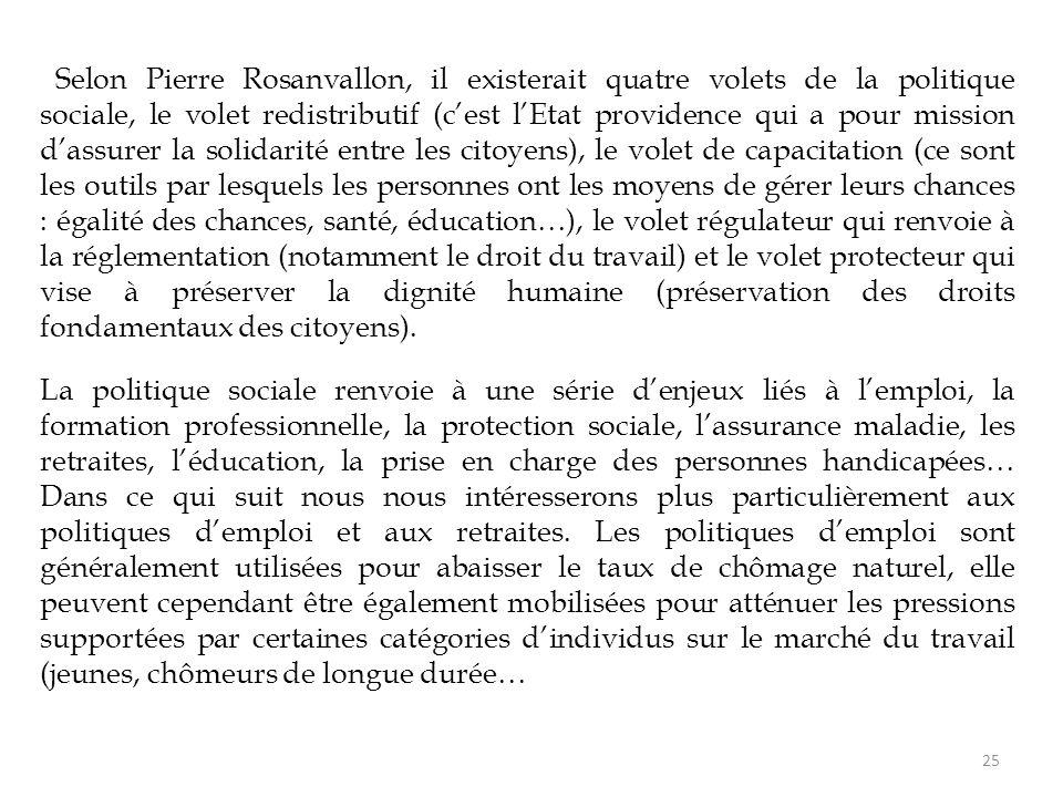 Selon Pierre Rosanvallon, il existerait quatre volets de la politique sociale, le volet redistributif (c'est l'Etat providence qui a pour mission d'as