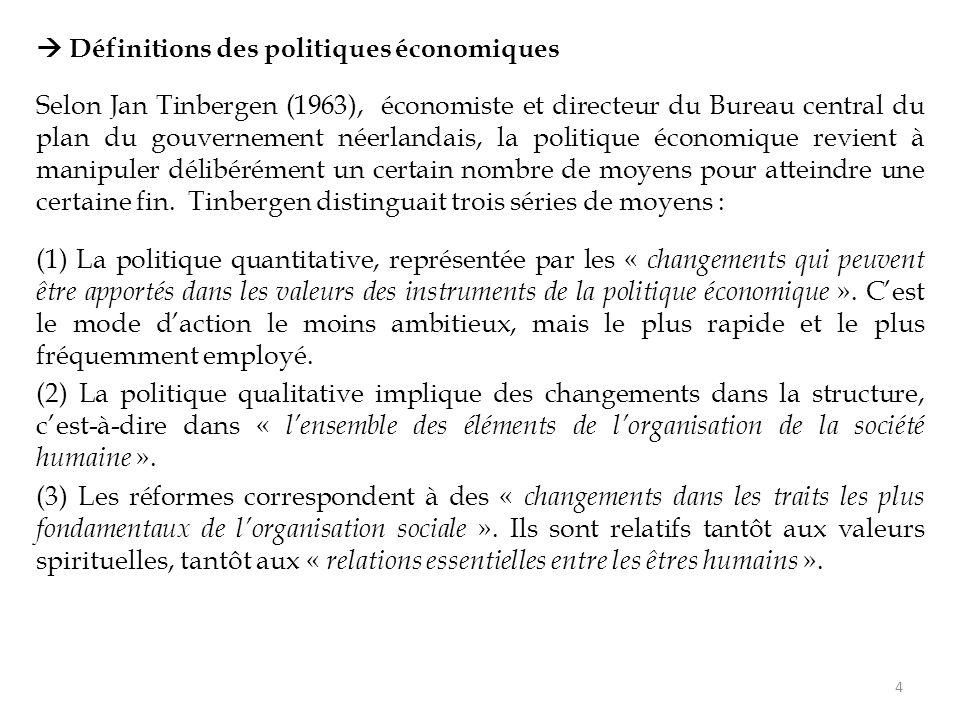  Définitions des politiques économiques Selon Jan Tinbergen (1963), économiste et directeur du Bureau central du plan du gouvernement néerlandais, la