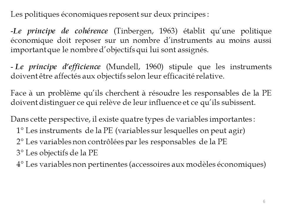 Les politiques économiques reposent sur deux principes : - Le principe de cohérence (Tinbergen, 1963) établit qu'une politique économique doit reposer