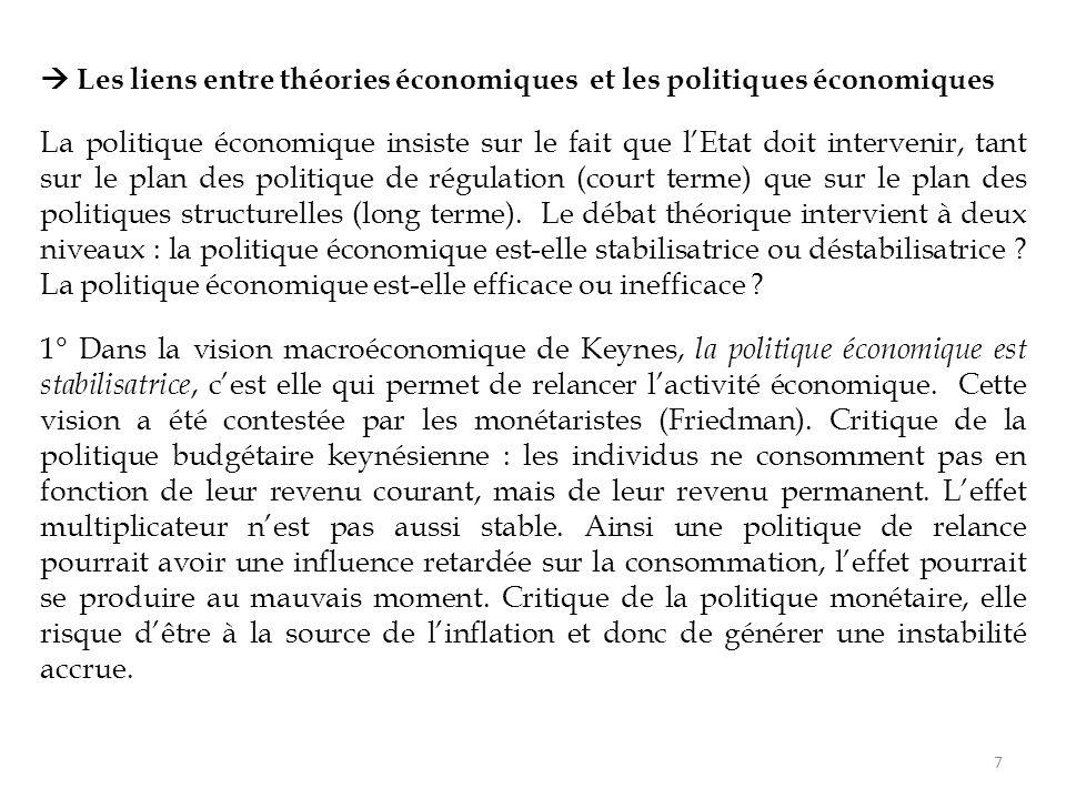  Les liens entre théories économiques et les politiques économiques La politique économique insiste sur le fait que l'Etat doit intervenir, tant sur