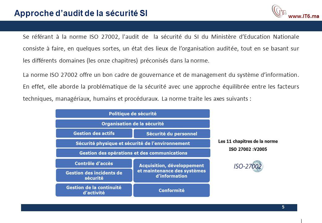 www.IT6.ma 5 Se référant à la norme ISO 27002, l'audit de la sécurité du SI du Ministère d'Education Nationale consiste à faire, en quelques sortes, u