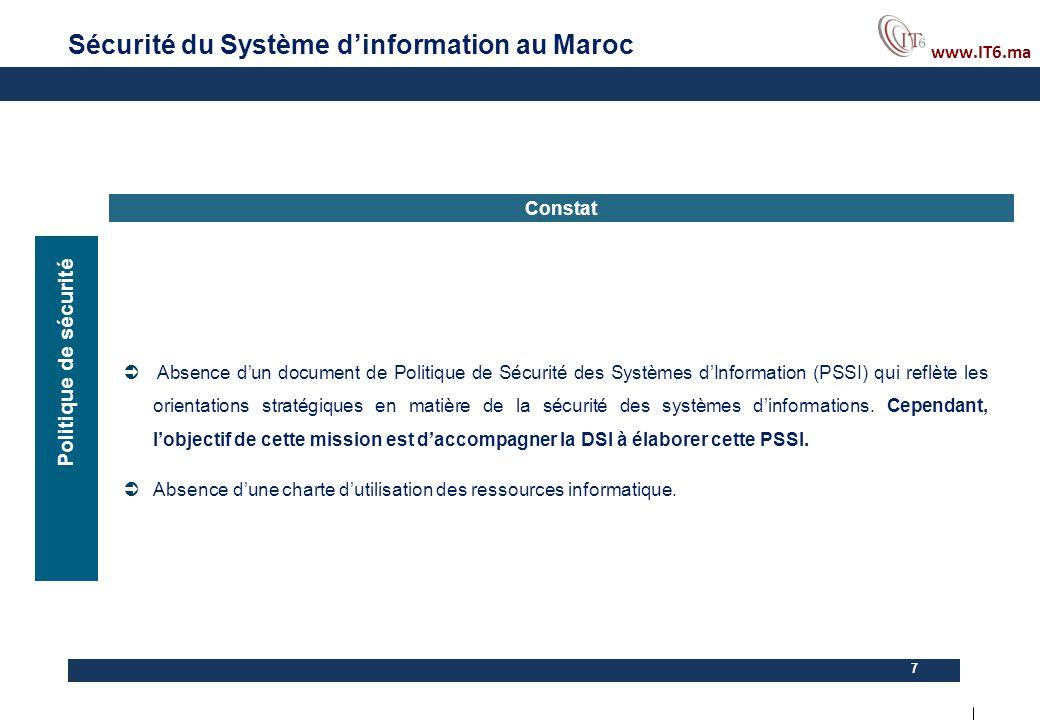 www.IT6.ma 7 Constat  Absence d'un document de Politique de Sécurité des Systèmes d'Information (PSSI) qui reflète les orientations stratégiques en m