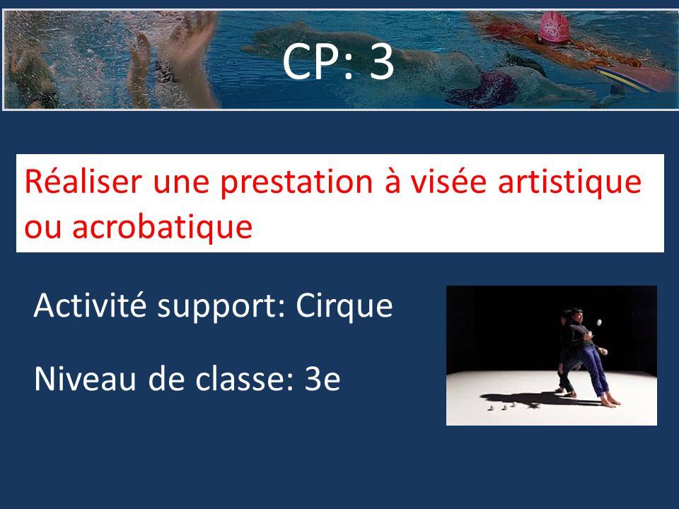 CP: 3 Activité support: Cirque Niveau de classe: 3e Réaliser une prestation à visée artistique ou acrobatique