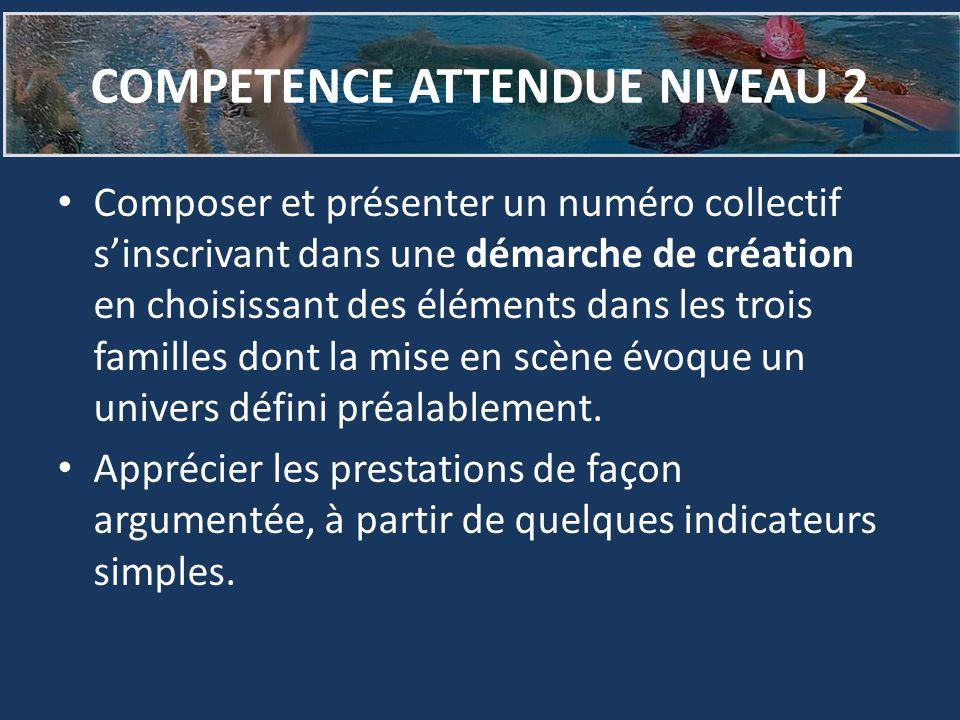 COMPETENCE ATTENDUE NIVEAU 2 Composer et présenter un numéro collectif s'inscrivant dans une démarche de création en choisissant des éléments dans les