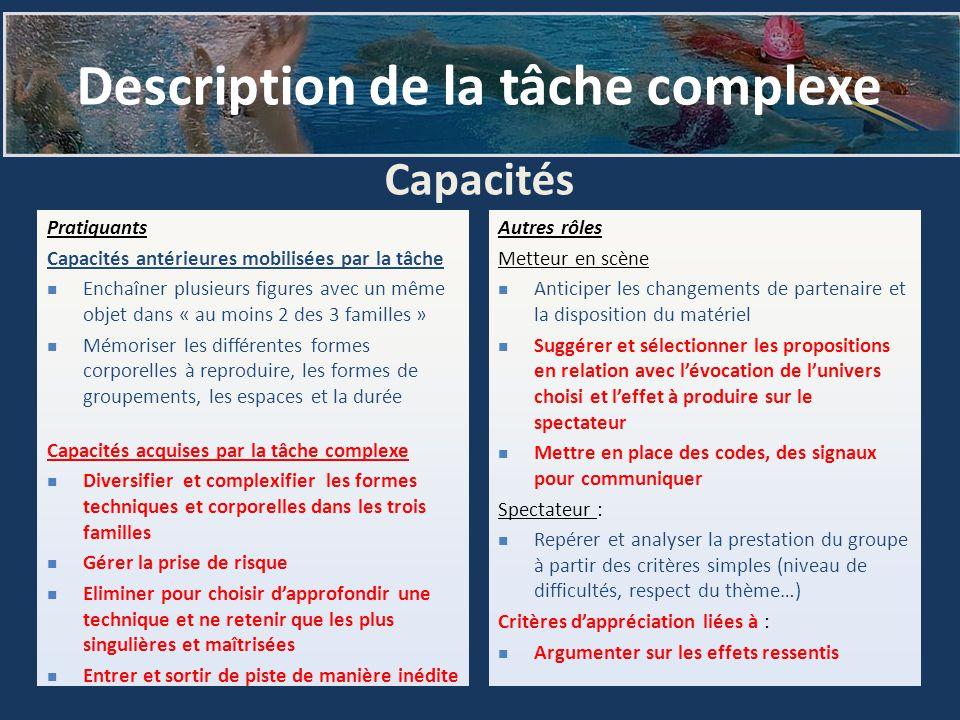 Capacités Pratiquants Capacités antérieures mobilisées par la tâche Enchaîner plusieurs figures avec un même objet dans « au moins 2 des 3 familles »
