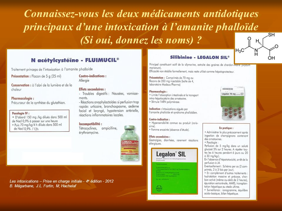 Connaissez-vous les deux médicaments antidotiques principaux d'une intoxication à l'amanite phalloïde (Si oui, donnez les noms) ? Les intoxications –