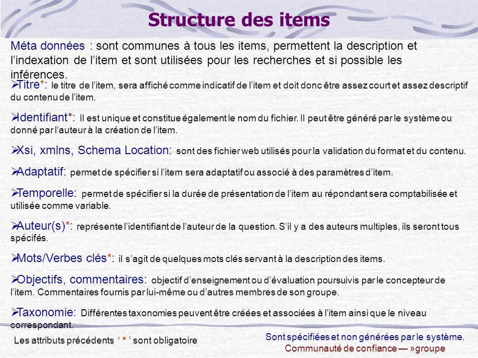 Structure des items Méta données : sont communes à tous les items, permettent la description et l'indexation de l'item et sont utilisées pour les recherches et si possible les inférences.