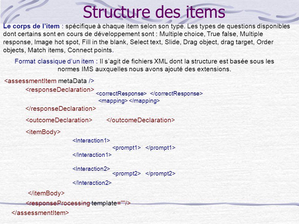 Structure des items Le corps de l'item : spécifique à chaque item selon son type.