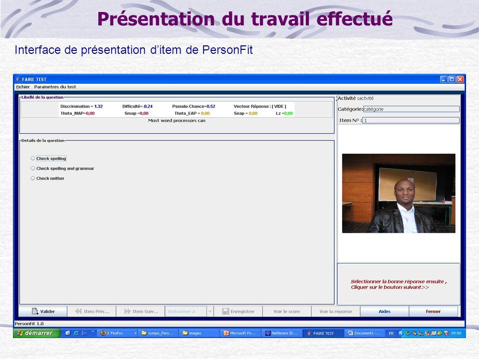 Présentation du travail effectué Interface de présentation d'item de PersonFit