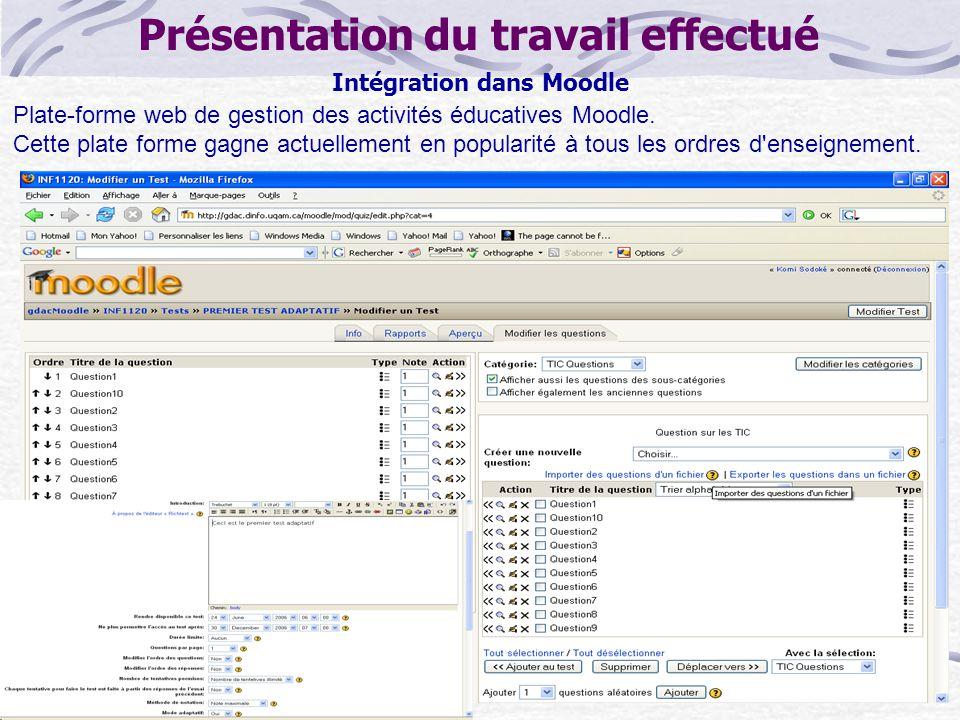 Présentation du travail effectué Intégration dans Moodle Plate-forme web de gestion des activités éducatives Moodle.