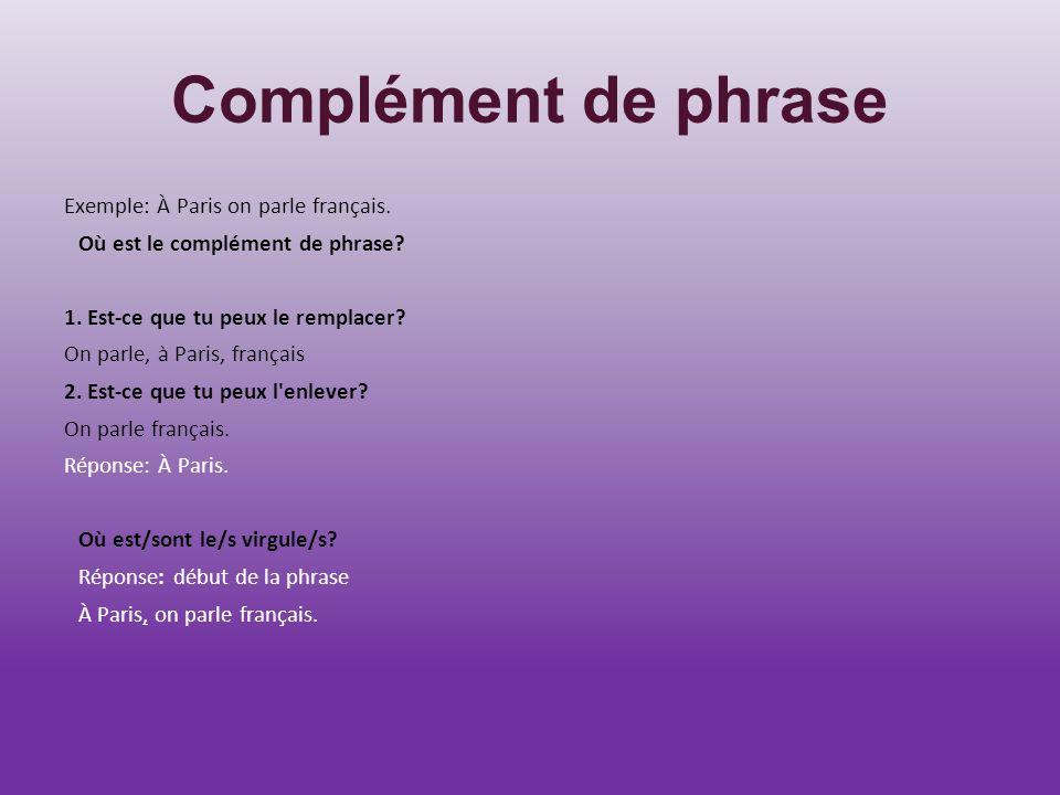 Complément de phrase Exemple: À Paris on parle français. Où est le complément de phrase? 1. Est-ce que tu peux le remplacer? On parle, à Paris, frança