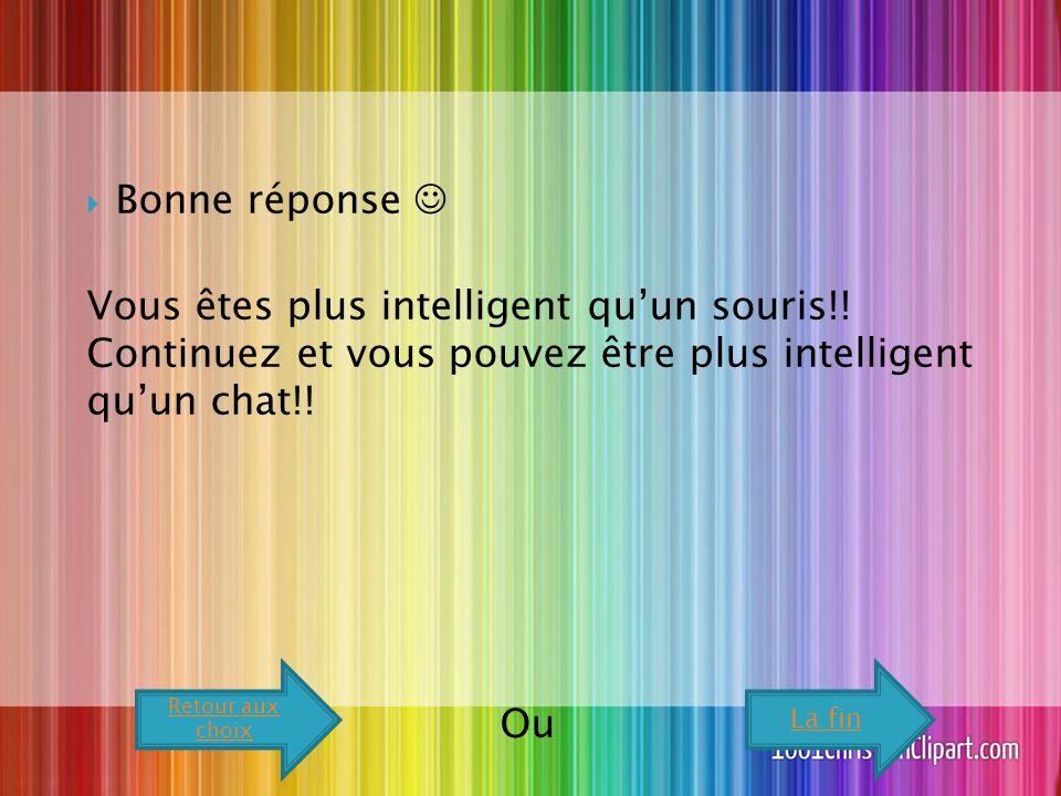  Bonne réponse Vous êtes plus intelligent qu'un souris!.