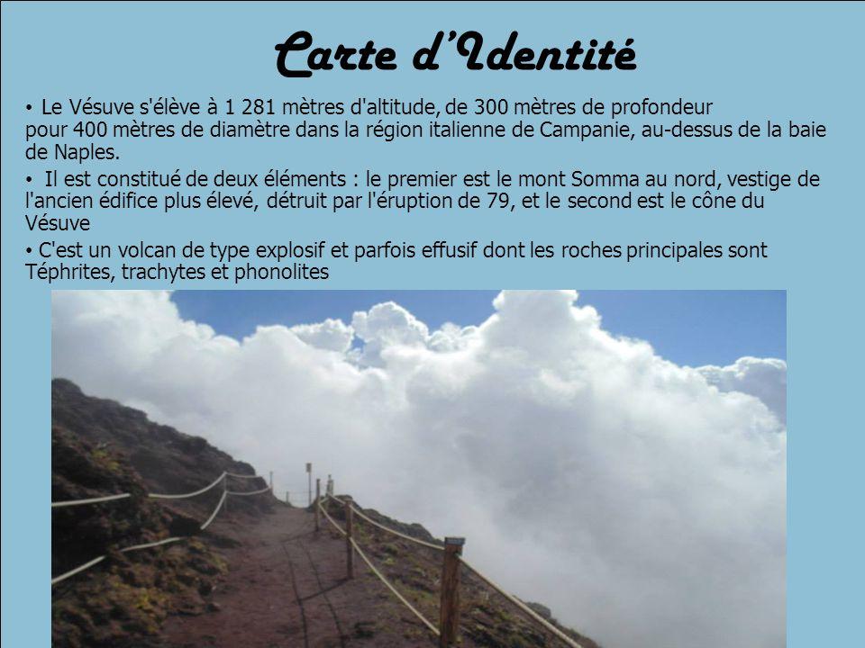 Carte d'Identité Le Vésuve s élève à 1 281 mètres d altitude, de 300 mètres de profondeur pour 400 mètres de diamètre dans la région italienne de Campanie, au-dessus de la baie de Naples.
