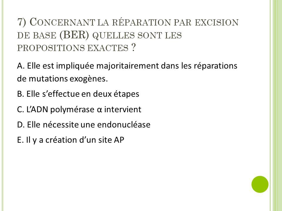7) C ONCERNANT LA RÉPARATION PAR EXCISION DE BASE (BER) QUELLES SONT LES PROPOSITIONS EXACTES ? A. Elle est impliquée majoritairement dans les réparat
